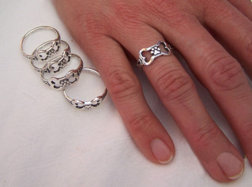 Sterling Silver Paws Off My Bone Ring