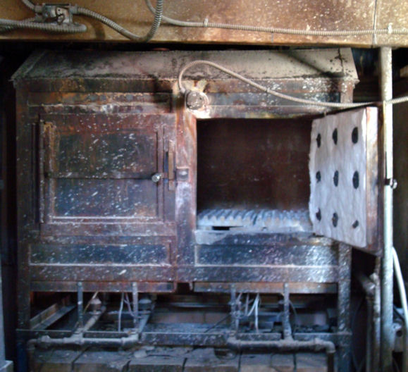 "A Kiln used in the ""burn out"" process"